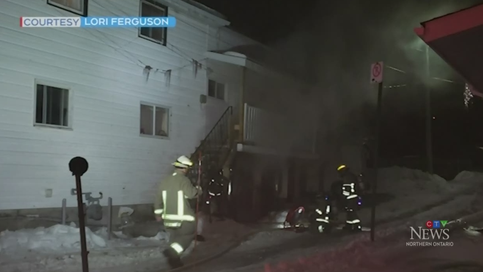 Smoke pours out of the lower unit of Sudbury apt