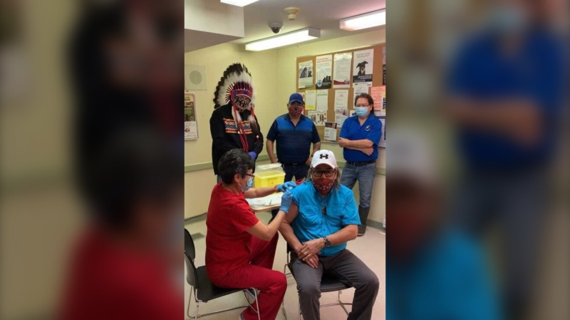 Councillor Mervin Garrick with Cross Lake First Nation receives a COVID-19 vaccine  (Facebook photo: David Monias).