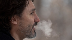 Prime Minister Justin Trudeau speaks during a news conference outside Rideau cottage in Ottawa, Friday, January 8, 2021. THE CANADIAN PRESS/Adrian Wyld