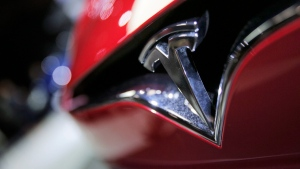 The logo of a Tesla model S at the Paris Auto Show, on Sept. 30, 2016. (Christophe Ena / AP)