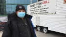Eddie Manuel stands by his business in London, Ont. on Friday, Jan. 8, 2021. (Bryan Bicknell / CTV News)