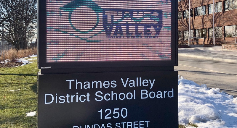 A sign at the Thames Valley District School Board offices in London, Ont. is seen Friday, Jan. 8, 2021. (Jim Knight / CTV News)