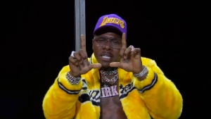 In this video grab issued Sunday, Aug. 30, 2020, by MTV, DaBaby performs during the MTV Video Music Awards. (MTV via AP)