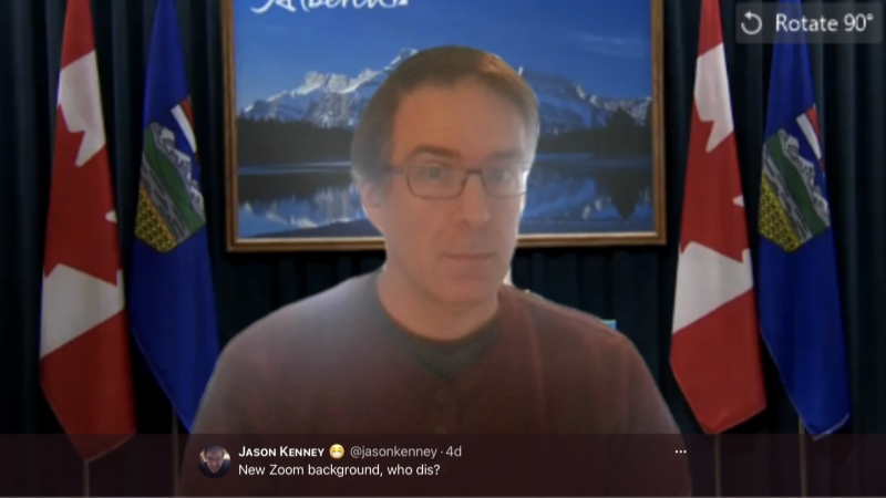 Jason Kenney, but not Alberta's premier, is having fun on Twitter with the UCP travel scandal. Jan. 8, 2021. (@jasonkenney/Twitter)