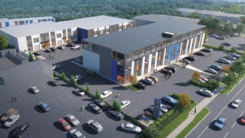An artist's rendering of the proposed development on the property that used to be home to Galaxy Motors: (CBRE)