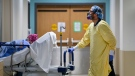 A health-care worker wearing PPE transports a patient in the dialysis unit at the Humber River Hospital during the COVID-19 pandemic in Toronto on Wednesday, December 9, 2020. THE CANADIAN PRESS/Nathan Denette
