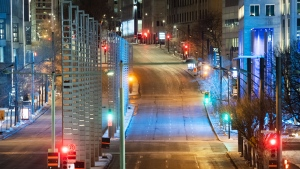 An empty Robert Bourassa Boulevard is shown in Montreal, Saturday, January 9, 2021, as the COVID-19 pandemic continues in Canada and around the world. The Quebec government has imposed a curfew to help stop the spread of COVID-19 starting at 8 p.m until 5 a.m and lasting until February 8.THE CANADIAN PRESS/Graham Hughes