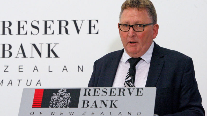 FILE - In this May 8, 2019, file photo, New Zealand's Reserve Bank Governor Adrian Orr speaks to the media in Wellington, New Zealand. (AP Photo/Nick Perry, File)