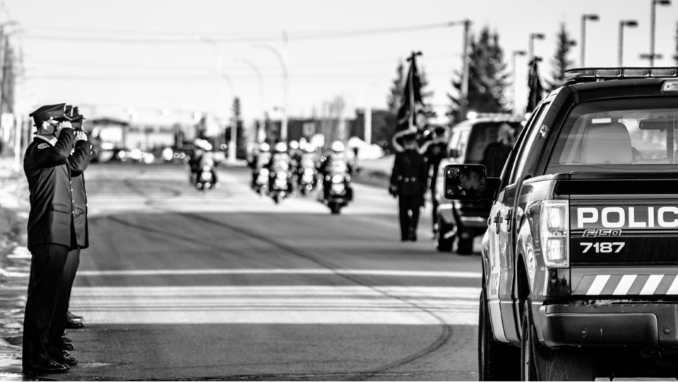 The procession for Sgt. Andrew Harnett took place at Calgary Police headquarters. (Supplied/Rinat Haque)