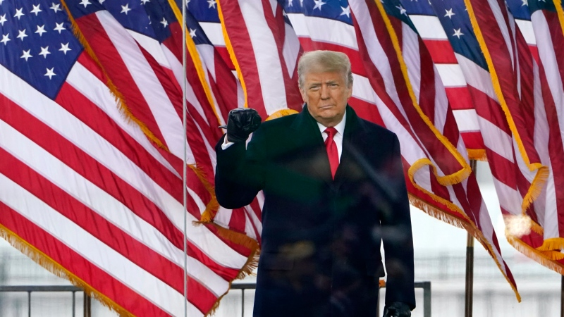 FILE - Then-U.S. President Donald Trump arrives to speak at a rally Wednesday, Jan. 6, 2021, in Washington. (AP Photo/Jacquelyn Martin)
