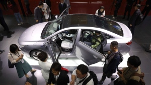 Geely Auto displays a sedan from its new electric brand Geometry during the Auto Shanghai 2019 show, on April 16, 2019. (Ng Han Guan / AP)