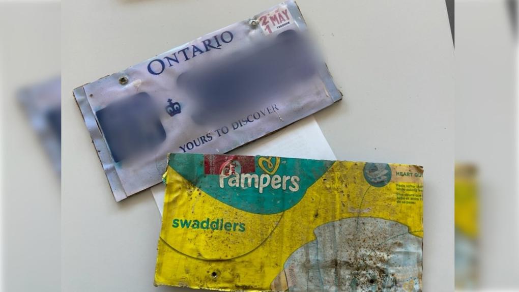 Fake licence plate on cardboard