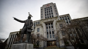 Vancouver City Hall is seen in Vancouver on Saturday, Jan. 9, 2021. (Darryl Dyck / THE CANADIAN PRESS)