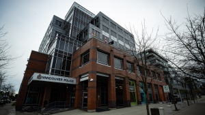 Vancouver Police Department headquarters is seen in Vancouver on Saturday, Jan. 9, 2021. (Darryl Dyck / THE CANADIAN PRESS)