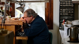 John Urban at work in his studio in Low, Que. (Joel Haslam / CTV)