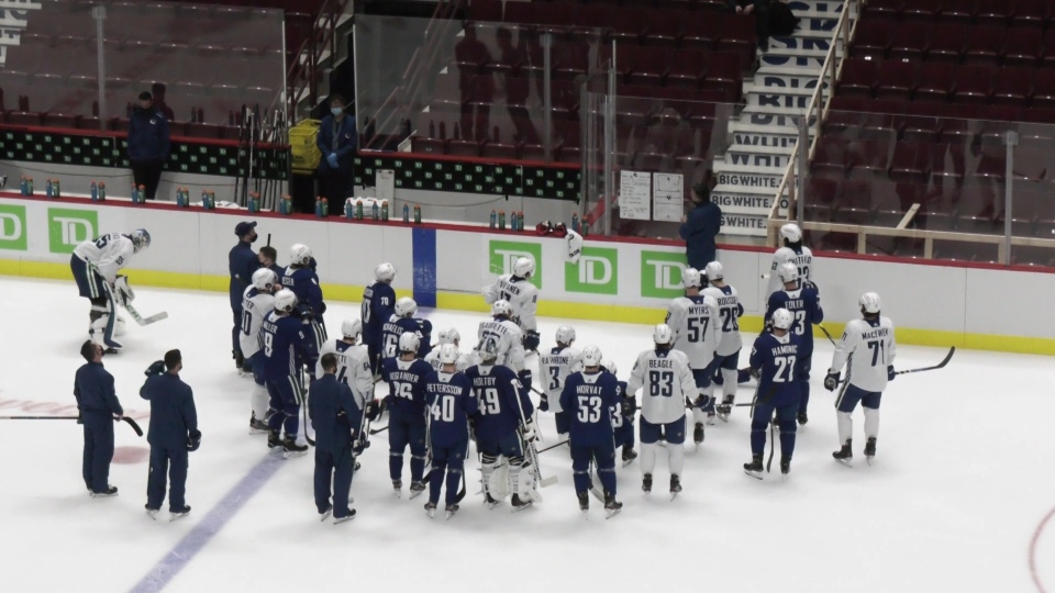 Vancouver Canucks practice on Jan. 11, 2021.