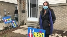"Dominique Gravel with a lawn sign from her ""A HERO LIVES HERE"" campaign in Windsor, Ont. on Monday, Jan. 11, 2020. (Alana Hadadean/CTV Windsor)"