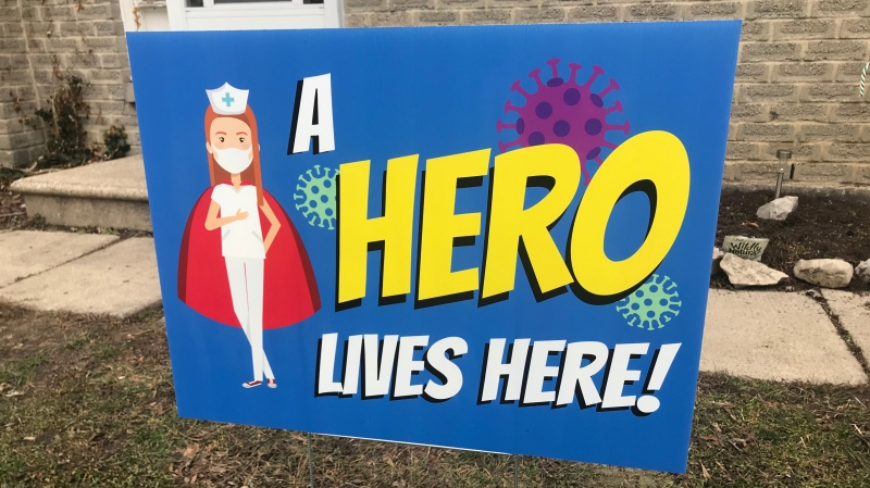 "Lawn sign from the ""A HERO LIVES HERE"" campaign in Windsor, Ont. on Monday, Jan. 11, 2020. (Alana Hadadean/CTV Windsor)"