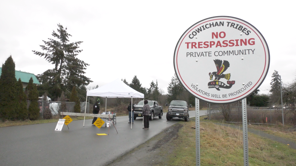A temporary blockade at Cowichan Tribes is pictured as a shelter-in-place order due to COVID-19 remains in effect: Jan. 11, 2021 (CTV News)