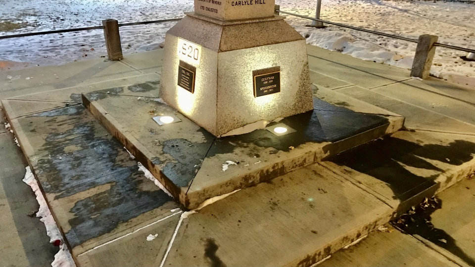 The Beverly Memorial Cenotaph on 118 Avenue and 40 Street has been vandalized fours times since Remembrance Day. (CTV News Edmonton/ Sean Amato)
