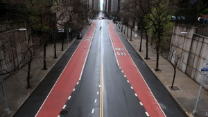 In this April 21, 2020, file photo, 42nd Street in New York has very little traffic. (AP Photo/Ted Shaffrey, File)