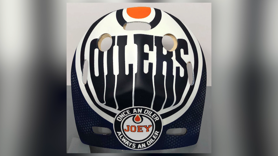 Oilers goalie mask, Jan. 12