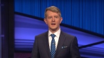 "Ken Jennings hosts ""Jeopardy!"" on January 11, 2021, and honored 'the great Alex Trebek.' (Jeopardy! via CNN)"