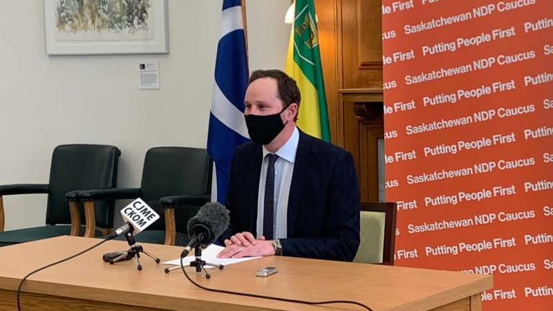 Ryan Meili, the leader of the Saskatchewan New Democratic Party, addresses reporters on Jan. 12, 2021. (Marc Smith/CTV News)
