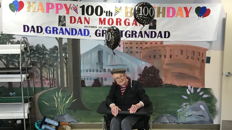 Dan Morgan is seen on his 100th birthday. (Supplied)