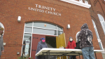 Free lunches being given to the community in front of Trinity United Church in Smiths Falls, Ont. (Nate Vandermeer / CTV News Ottawa)