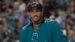 File - In this Oct. 13, 2019, file photo, San Jose Sharks left wing Evander Kane against the Calgary Flames during an NHL hockey game in San Jose, Calif. A Las Vegas Strip casino is suing Kane, alleging he failed to repay a $500,000 gambling debt racked up during a league playoff series visit to Las Vegas last April. Cosmopolitan of Las Vegas lawyer Lawrence Semenza III declined Thursday, Nov. 7, 2019, to comment about the civil lawsuit filed Monday against Kane. (AP / Jeff Chiu, File)
