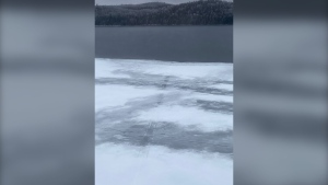 Snowmobile tracks on lake led to open water. Jan. 8/21 (OPP)