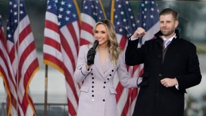 Lara Trump speaks as she stands on stage with her husband Eric Trump at the 'Save America Rally' in Washington, on Jan. 6, 2021. (Jacquelyn Martin / AP)
