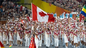 Canadian athletes enter the National Stadium during the opening ceremonies for the 2008 Summer Olympics in Beijing, China Friday, Aug. 8, 2008. (THE CANADIAN PRESS / Paul Chiasson)