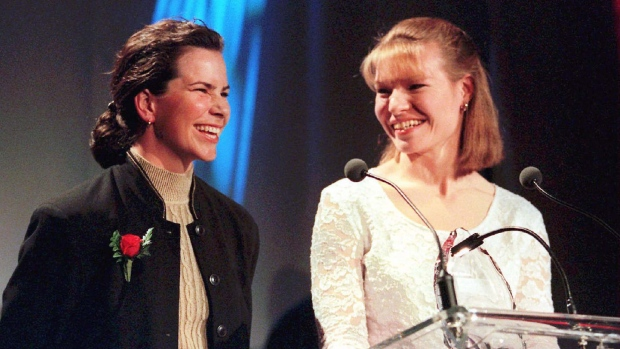 This file photo from 1997 shows Marnie McBean (left) and Kathleen Heddle (right) who are all smiles after winning the award for outstanding pairs at the Canadian Sport Awards in Toronto. (CP PHOTO)1997(str-Kevin Frayer)
