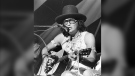 Shingoose, born Curtis Jonnie, is seen performing at a folk music festival. The Indigenous musician from Manitoba died from COVID-19 in Winnipeg on January 12 at the age of 74 (image: shingoose.ca)