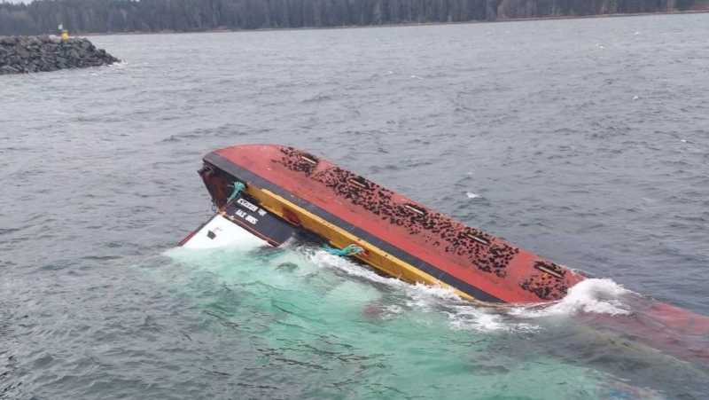 The Alaska Plaza was docked at the Port McNeill Marina when it ran into difficulties on Dec. 24. (B.C. Ministry of Environment)