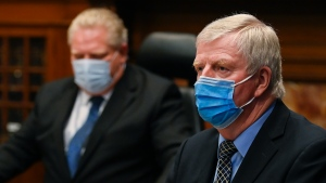 Retired Gen. Rick Hillier, right, chair of the COVID-19 Vaccine Distribution Task Force and Ontario Premier Doug Ford give an update regarding the Ontario COVID-19 vaccine during the COVID-19 pandemic in Toronto on Tuesday, January 5, 2021. THE CANADIAN PRESS/Nathan Denette
