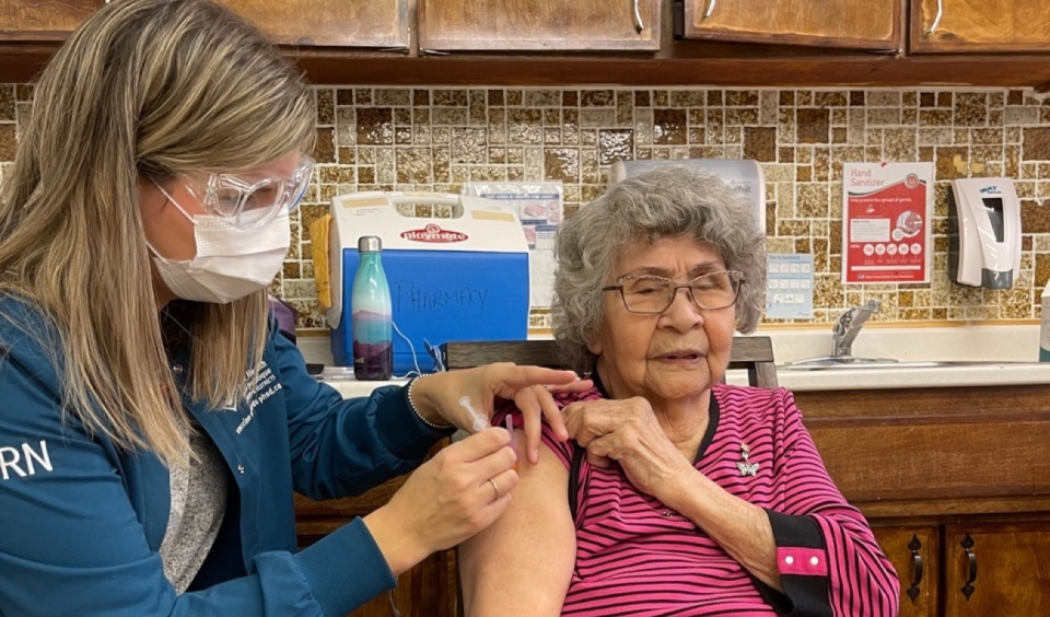 The residents of the Wikwemikong Nursing Home on Manitoulin Island were the first in the region to be vaccinated Wednesday morning. All 59 residents have received their first dose of Moderna vaccine. (Photo courtesy of Cheryl Osawabine-Peltier)