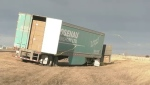 A number of trucks were blown off southern Alberta highways Wednesday as winds blew as hard as 137 km/h.