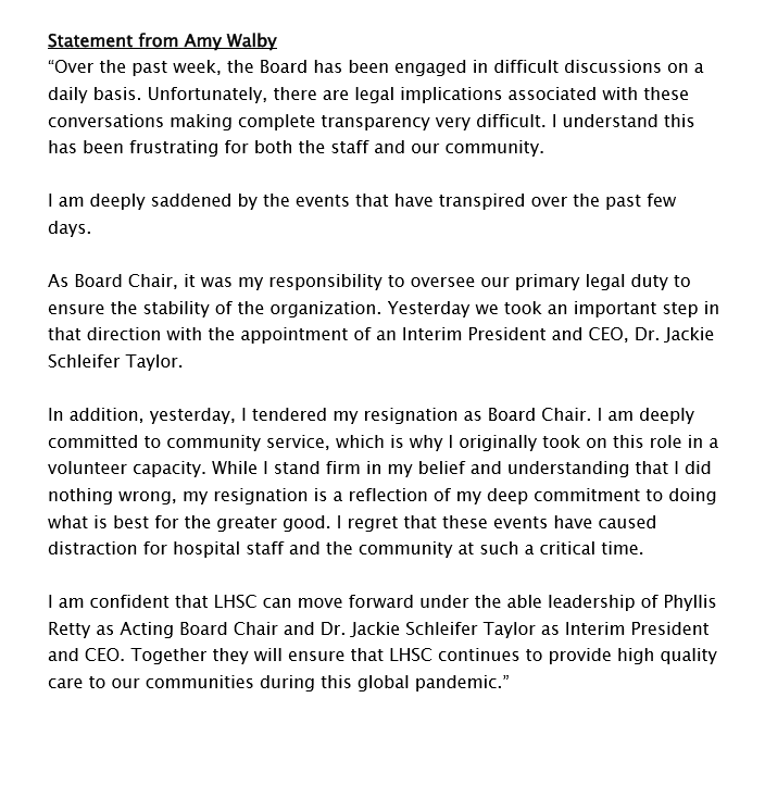 Statement from Amy Walby