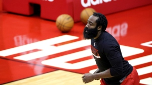 Houston Rockets' James Harden warms up prior to an NBA basketball game against the Los Angeles Lakers, on Jan. 10, 2021. (Carmen Mandato / Pool Photo via AP)