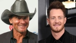 "This combination photo shows Tim McGraw at the iHeartCountry Festival in Austin, Texas on May 4, 2019, left, and Tyler Hubbard of the duo Florida Georgia Line at the 61st annual Grammy Awards in Los Angeles on Feb. 10, 2019. Hubbard and McGraw are asking people to walk a mile in someone else's shoes in a call for unity on their new duet ""Undivided."" Hubbard wrote the song while isolating on his tour bus after testing positive for COVID-19 last year. He said the division in America in 2020 weighed heavily on his heart as he wrote the song. McGraw said the song isn't political, but makes a case for empathy instead of disagreement. (AP Photo)"