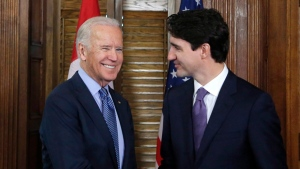 Prime Minister Justin Trudeau shakes hands with US Vice-President Joe Biden on Parliament Hill in Ottawa on Friday, December 9, 2016.THE CANADIAN PRESS/Patrick Doyle
