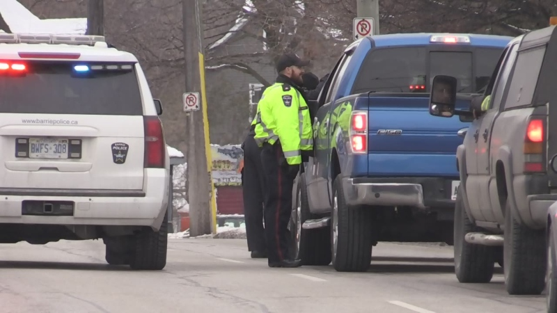 A police officer stops a driver for a traffic check. File image.