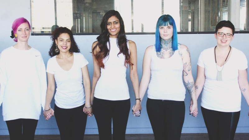 Christina Paruag has started a campaign to help women with endometriosis afford out-of-country surgery. From left to right: Jessie Sousa, Vinita Puri, Christina Paruag, Sarah Forrest and Maia Leggott. (Courtesy FemEvolve Magazine/Simone Lyn)
