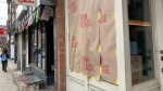 "A storefront on Roncesvalles Avenue displays a ""for lease"" sign as part of a protest against the Ontario government's pandemic lockdown rules in Toronto on Tuesday Nov. 24, 2020. THE CANADIAN PRESS/Jody White"