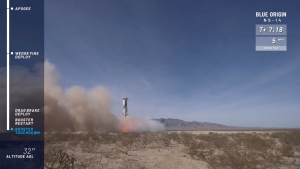 In this image from video made available by Blue Origin, the company's New Shepard rocket lands after a test flight in West Texas on Thursday, Jan. 14, 2021. (Blue Origin via AP)