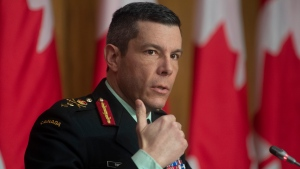 Major General Dany Fortin responds to a question on COVID vaccines during a news conference, Thursday, January 14, 2021 in Ottawa. THE CANADIAN PRESS/Adrian Wyld