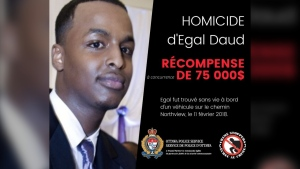 Ottawa Police are offering a reward of up to $75,000 for information leading to an arrest in the homicide of Egal Daud, who was found shot dead in February 2018.